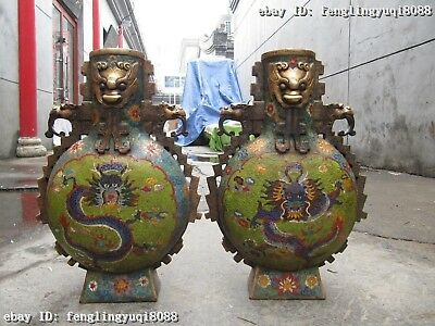 16 Chinese Royal 100% Bronze Cloisonne Dragon Foo Dog Aquarius Bottle Vase Pair