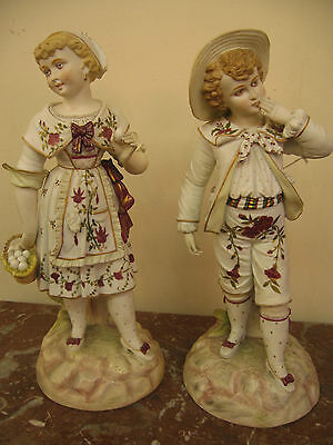 Extra Ordinary French Pair Of Porcelain Figurines Of A Country Couple, 1900-1940