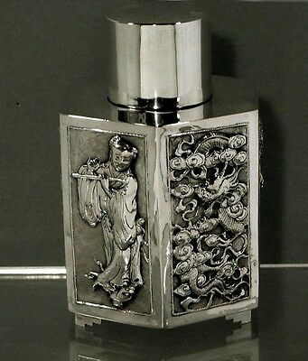 """Chinese Export Silver Tea Caddy    Maiden W Flute   """"kw""""      * $2600 -  $1950 *"""