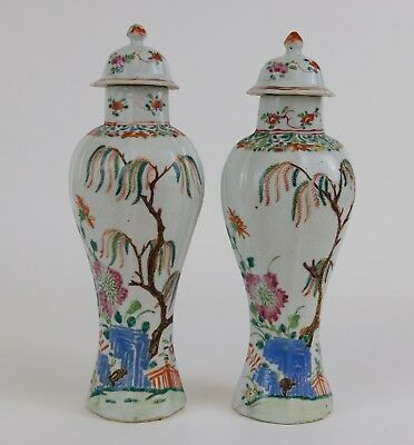 Fine Pair Chinese Export Porcelain Famille Rose Vases, 18th Century Qianlong