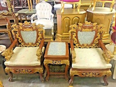 Pair Of Chinese Hand Carved Foo Dragon Lion Armchairs With Marble Top End Table