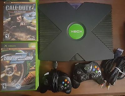 Original Xbox Console 16 Games 2 Controller Bundle Lot Tested Working