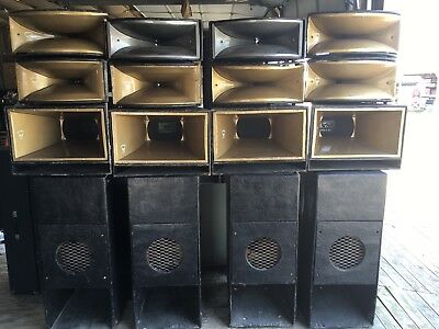 "Vintage Fiberglass Pa Speaker System - 15"" Subs 12"" Horn Loaded Mids 1"" Horns"