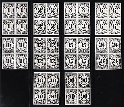 Us O47p3 - O56p3 1c-90c Post Office Dept Plate Proof Blks 4 India Paper Scv$1000