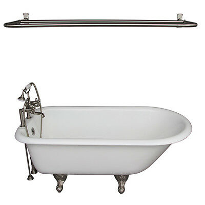 brushed nickel tub kit 60 inch cast iron roll top, shower rod, filler, supplies,
