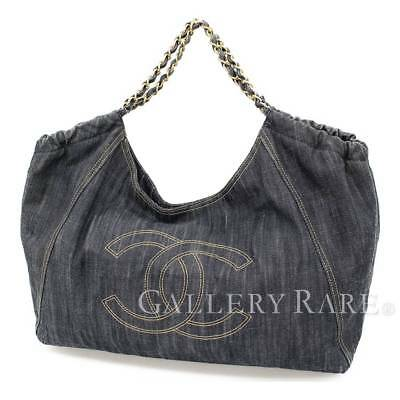 chanel chain shoulder bag coco cabas gm denim a35109 italy authentic 4784647
