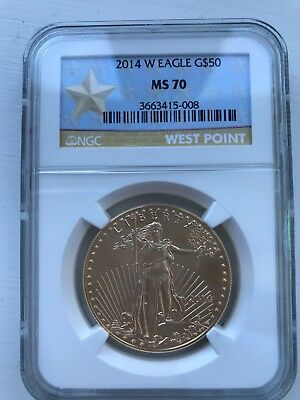 2014-w 1 Oz Burnished Gold Eagle Ms-70 Ngc West Point