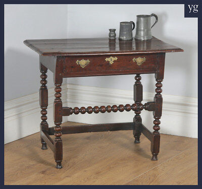 Antique English 17th Century Charles Ii Country Oak Occasional Hall Side Table