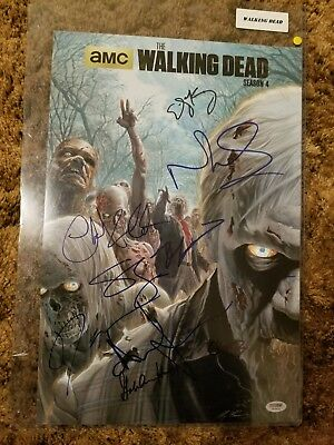 Amc The Walking Dead Signed 9 Cast Photo Psa/dna Andrew Lincoln, Norman Reedus