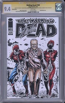 Walking Dead #109 Cgc Ss Stan Lee Signed Cover Recreation First Michonne Wd 19