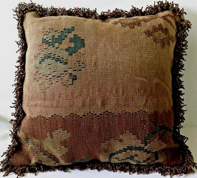 Kilim Wool Throw Pillow Dark Taupe Green Blk Velvet Back  19