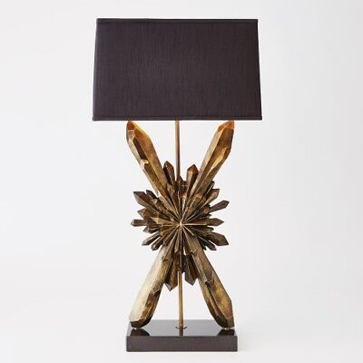 Modern Bronze Starburst Table Lamp | Faceted Crystal Formation Black Shad