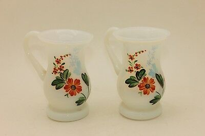 antique  ottoman flowers decorated opaline decorated amazing double cups