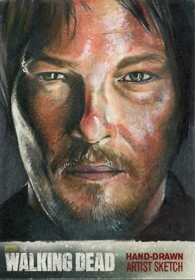 Walking Dead Season 4 Part 1 Sketch Card By Mike James - Daryl