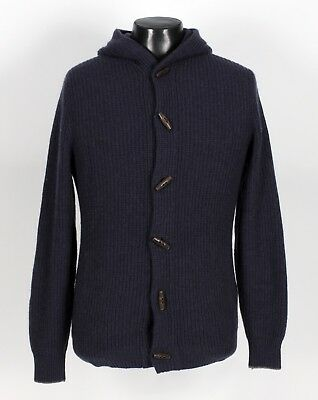 $2750 brunello cucinelli 100% cashmere hooded hood toggle sweater blue 56 xl 2xl