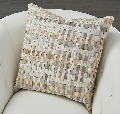 Luxe Tiled Mosaic Hair Hide Leather Throw Pillow | Neutral Earth Tones Down