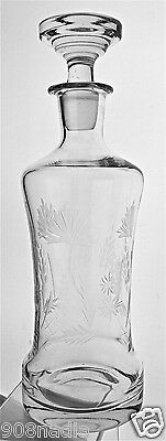 Vintage Flowers Etched Glass Decanter & Stopper Glassware Barware