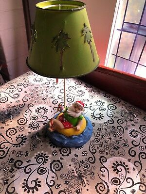 Santa Claus Statue Tea Light Candle Holder Florida~metal Palm Tree Lamp~nwt