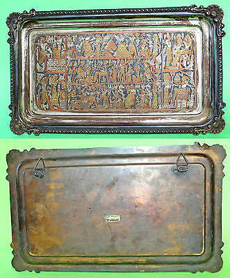 Vintage Egyption Handmade Tray Hieroglyphics Brass Copper Silver Mixed Metal