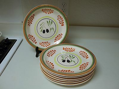 Gibson Everyday Housewares Stoneware ~ 7 Dinner Plates ~ Olive Charm Brown