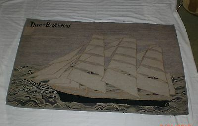 Three Brothers Yankee Clipper Hooked Rug Nautical Folk Art