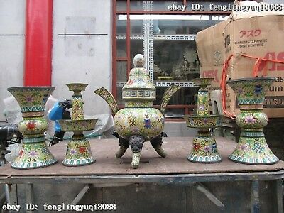 China Regius Palace Copper Cloisonne Vase Candle Holders Pot Censer Set