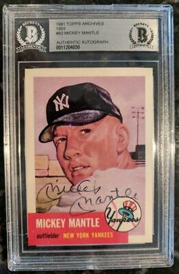 1991 Topps Archives 1953 #82 Mickey Mantle Signed Card Yankees Bas Beckett