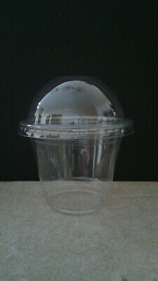 9 Oz. Clear Pet Plastic Squat Cold Cups With Dome Lid With Hole By Choice