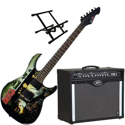 Peavey Bandit 112 Amp And Walking Dead Wrap Cover Guitar With Amp Stand