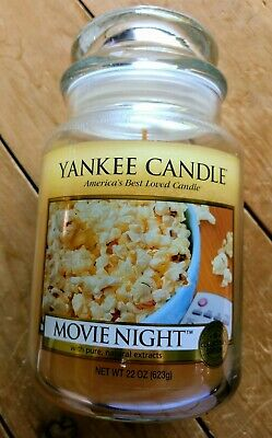 New Yankee Candle Retired Rare Movie Night Large 22oz White Label Collector
