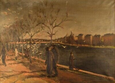 Kai Pihl, B. 1894, 1978. Danish Painter. Oil On Canvas. Walking People