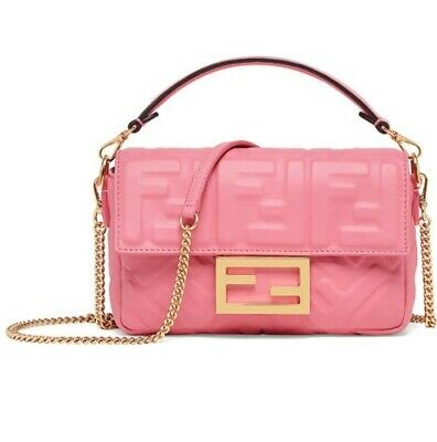Fendi-sold Out-brand New-pink Leather Mini Baguette-pink