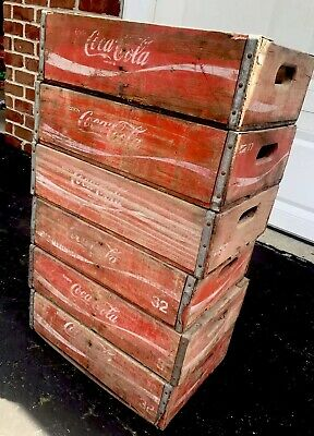 6 Vintage Red Faded Weathered Coca Cola Wood Soda Pop Crates Lot