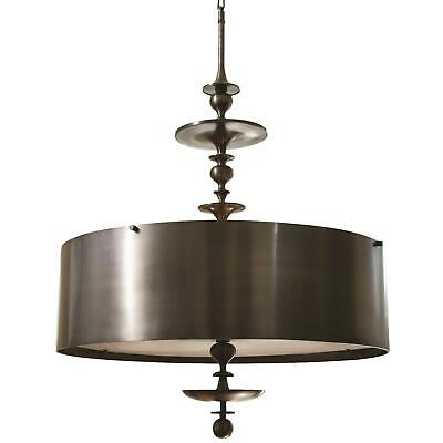 Dramatic Round Metal Shade Bronze Pendant | 30 In Chandelier Hanging Spindle