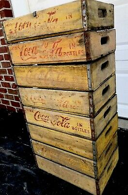 8 Vintage Yellow Faded Weathered Coca Cola Wood Soda Pop Crates Lot