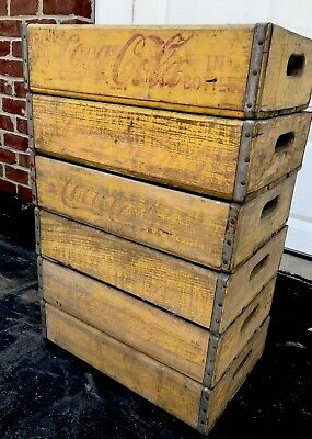 6 Vintage Yellow Faded Weathered Coca Cola Wood Soda Pop Crates 24 Dividers Lot