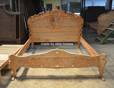 First Time In Uk 100% Oak Wood French Style Rococo Bed ....... Uk King Size
