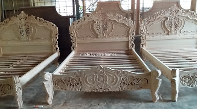 First Time In Uk 100% Oak Wood French Style Rococo Bed ...... Double Size
