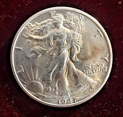 1947-d Walking Liberty Half Dollar Mint State66+67 Proof Like With Great Luster