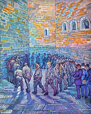 Prisoners Walking The Round By Van Gogh Artist Painting Oil Canvas Repro Deco