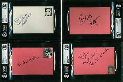 Golden Girls White, Arthur, Getty, Mcclanahan Signed 4x6 Index Card Lot Bas Slab