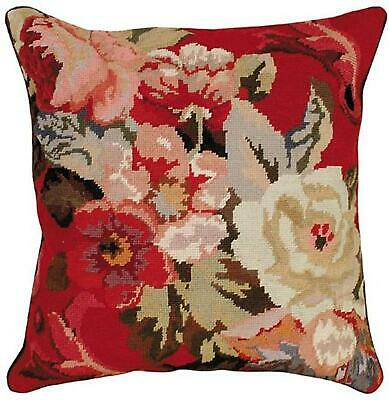 Throw Pillow Needlepoint Diagonal Flowers Peony Flower 20x20 Moss Pink Wh