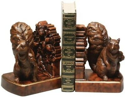 Bookends Bookend Traditional Rustic Squirrel Large Resin New Hand-cast Ha