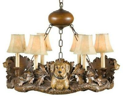 Chandelier 3 Labrador Lab Head Dog 6-light Yellow Faux Leather Shade Cast