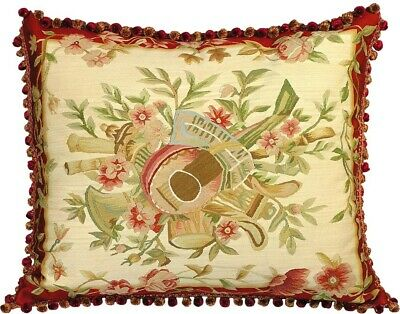 Throw Pillow Music 28x24 Feather Down Insert Aubusson Tapestry Silk Threa