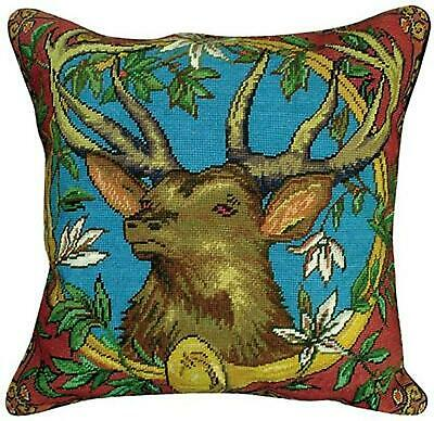 Throw Pillow Needlepoint Elk With Horn 20x20 New Mh-351