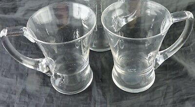 Vintage Clear Glass Flare Beer Cold Mug/cup Pair England Made Barware Glassware