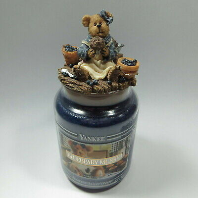 Yankee Candle Bluebeary Muffin Black Band 22 Oz Boyds Bear Jar Topper Blueberry