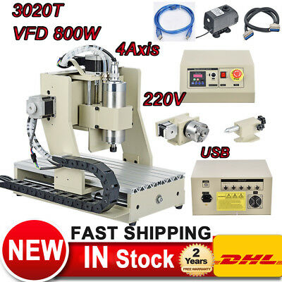 800w Usb Vfd 4axis Cnc Router 3020t Engraver Machine Spindle Milling Drilling Us