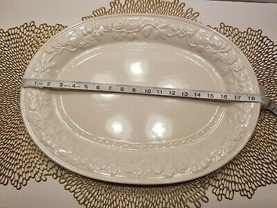 Gibson Housewares Off White Fruitful Serving Platter 18.75 Inches Turkey